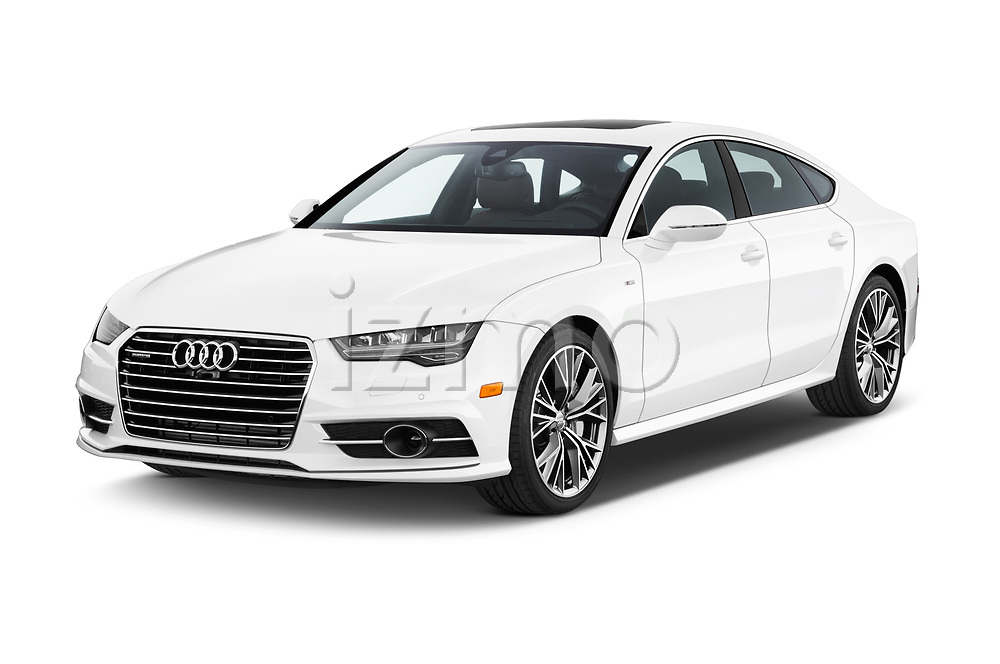 2016 Audi A7 3.0 TDI Premium Plus  4 Door Hatchback angular front stock photos of front three quarter view