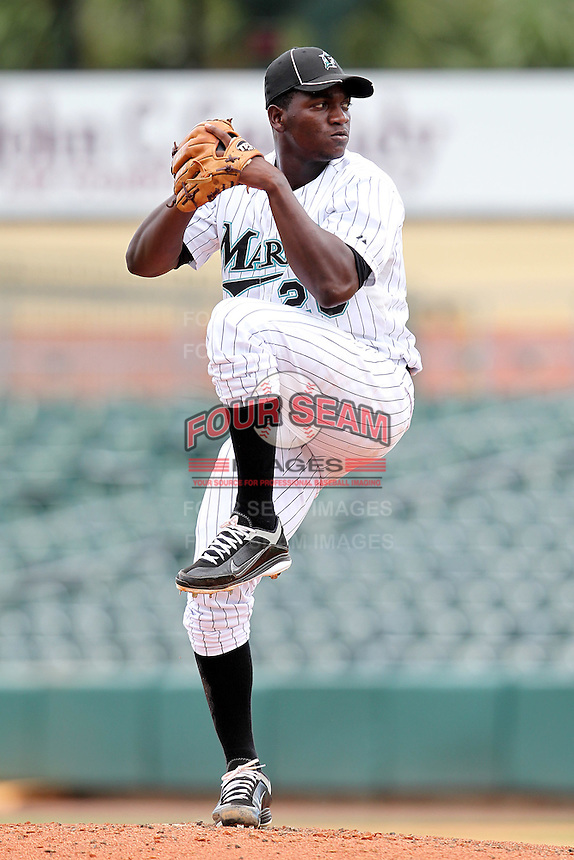 Pitcher Aneurys Solano #26 of the Florida Marlins instructional League team during a game against the Italian National Team at the Roger Dean Stadium in Jupiter, Florida;  September 27, 2011.  Italy is training in Florida for the Baseball World Cup.  (Mike Janes/Four Seam Images)