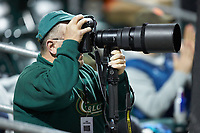 Charlotte 49ers Athletics photographer Sam Roberts Jr. hard at work during the game against the Clemson Tigers at BB&T BallPark on March 26, 2019 in Charlotte, North Carolina. The Tigers defeated the 49ers 8-5. (Brian Westerholt/Four Seam Images)