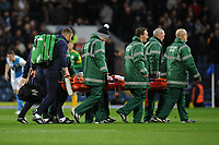 Blackburn Rovers' Corry Evans is stretchered off the pitch<br /> <br /> Photographer Kevin Barnes/CameraSport<br /> <br /> The EFL Sky Bet Championship - Blackburn Rovers v Preston North End - Saturday 11th January 2020 - Ewood Park - Blackburn<br /> <br /> World Copyright © 2020 CameraSport. All rights reserved. 43 Linden Ave. Countesthorpe. Leicester. England. LE8 5PG - Tel: +44 (0) 116 277 4147 - admin@camerasport.com - www.camerasport.com
