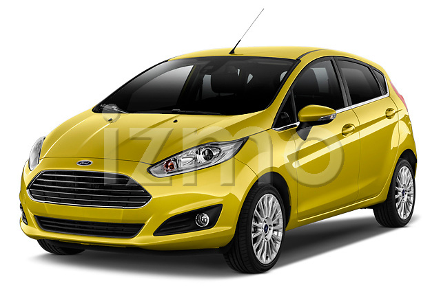 Front three quarter view of a 2013 Ford Fiesta Titanium 5 Door Hatchback2013 Ford Fiesta Titanium 5 Door Hatchback