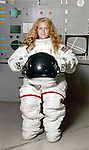 Late 1980's, 10-year-old Sue, in real astronaut suit at Cradle of Aviation Museum Space Camp, Garden City, Long Island, New York, USA. NOTE: Photographer Unknown - please contact me if you have info (photo restored by Ann Parry)