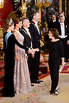 Queen Letizia, Juliana Awada, President of Argentine Republic, Mauricio Macri, King Felipe VI of Spain and vice president Soraya Saenz de Santamaria during the gala dinner given to the President of the Argentine Republic, Sr. Mauricio Macri and Sra Juliana Awada at Real Palace in Madrid, Spain. February 19, 2017. (ALTERPHOTOS/BorjaB.Hojas)