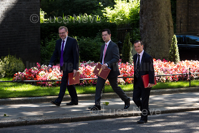 (From L to R) David Mundell MP (Secretary of State for Scotland), James Brokenshire MP (Secretary of State for Northern Ireland) & Alun Cairns MP (Secretary of State for Wales).<br /> <br /> London, 19/07/2016. First Cabinet meeting at 10 Downing Street (after the EU Referendum and consequent David Cameron's resignation) for the new Prime Minister Theresa May and her newly formed Conservative Government.<br /> <br /> For more information about the Cabinet Ministers: https://www.gov.uk/government/ministers