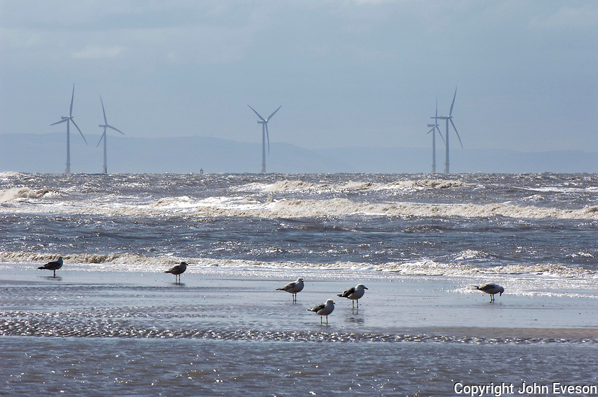 Burbo Bank off-shore wind farm, 25 140ft-high wind turbines generate enough electricity to power 72,500 homes.