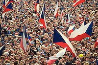 November 25, 1989. Prague, Czechoslovakia. Alexander Dubcek and Vaclav Havel speak to a crowd of 500.000 people at a pro-democracy demo in Letna Plain. (Photo Heimo Aga)