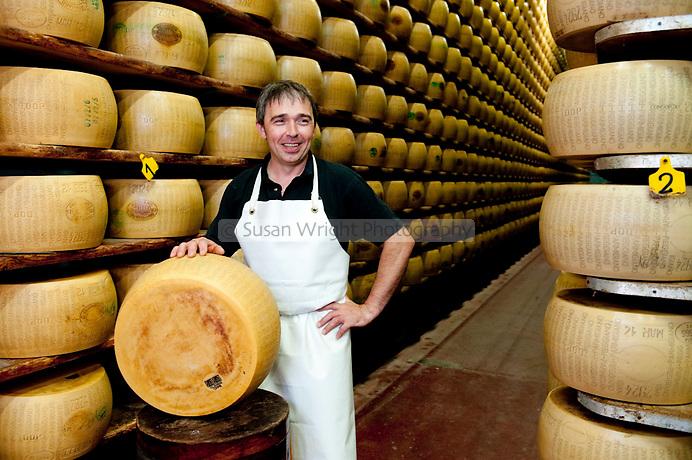 Luciano Bedostri, cheesemaker at Hombre Farm in Modena, Emilia Romagna, Italy