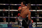 2nd February 2019 The O2 Arena, London, England; Boxing, European Super-Welterweight Championship, Sergio Garcia versus Ted Cheeseman; Fabio Wardley catches Morgan Dessaux with a upper cut and knocks him out