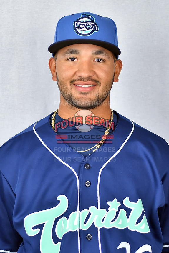 Asheville Tourists pitcher Alfredo Garcia (26) during media day at McCormick Field on April 2, 2019 in Asheville, North Carolina. (Tony Farlow/Four Seam Images)