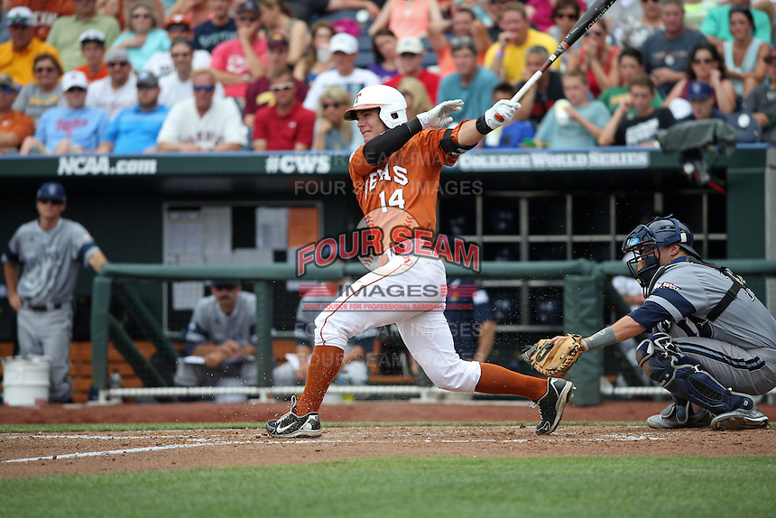 Ben Johnson #14 of the Texas Longhorns bats during Game 1 of the 2014 Men's College World Series between the UC Irvine Anteaters and Texas Longhorns at TD Ameritrade Park on June 14, 2014 in Omaha, Nebraska. (Brace Hemmelgarn/Four Seam Images)