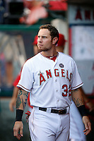 Josh Hamilton #32 of the Los Angeles Angels before a game against the St. Louis Cardinals at Angel Stadium on July 3, 2013 in Anaheim, California. (Larry Goren/Four Seam Images)