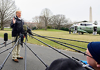 United States President Donald J. Trump speaks to the press as he departs the White House in Washington, DC on Friday, March 8, 2019.  The President will travel to Alabama to see the damage from the tornados earlier in the week before continuing to Florida to spend the weekend at his Mar-a-Lago resort.  The President took questions on the Manafort sentencing, Michael Cohen's testimony, and his charges of anti-semitism against the US House Democrats.<br /> CAP/MPI/RS<br /> &copy;RS/MPI/Capital Pictures