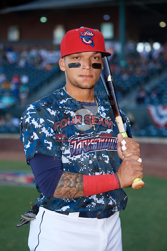 Jacksonville Jumbo Shrimp second baseman Isan Diaz (11) poses for a photo before a game against the Mobile BayBears on April 14, 2018 at Baseball Grounds of Jacksonville in Jacksonville, Florida.  Mobile defeated Jacksonville 13-3.  (Mike Janes/Four Seam Images)