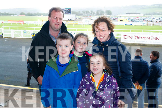 Ian, Liam, Maeve, Aine and Ber Kelliher, pictured at the Listowel Races on Sunday afternoon last.