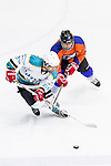 Medical Kings Player John Ng (c) fights for the control of the puck with Principal Defense Ryan Lee (r) during the Principal Standard League match between Principal vs Winner Medical Kings at the Mega Ice on 03 January 2017 in Hong Kong, China. Photo by Marcio Rodrigo Machado / Power Sport Images