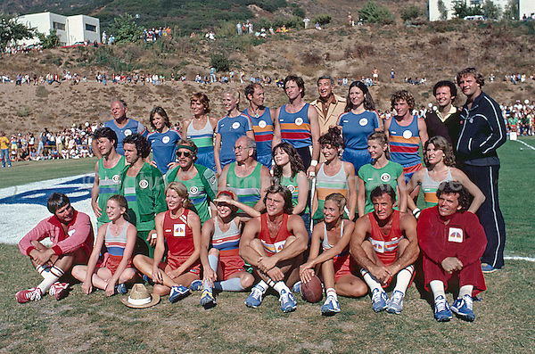 Group Photo  of ABC, CBS and NBC teams at the Battle of the Network Stars, Pepperdine University, Pepperdine CA, November 1979. Hosts Howard Cosell and Billy Crystal standing in back row. Photo by John G. Zimmerman.