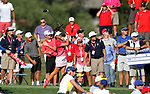 DES MOINES, IA - AUGUST 18: USA's Danielle Kang watches her tee shot on the 16th hole during their match at the 2017 Solheim Cup in Des Moines, IA. (Photo by Dave Eggen/Inertia)