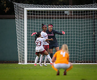 STANFORD, CA - November 23, 2018: Alison Jahansouz, Naomi Girma, Kiki Pickett at Laird Q. Cagan Stadium. The top seeded Stanford Cardinal defeated the Tennessee Volunteers 2-0 in the Quarterfinal of the NCAA tournament.
