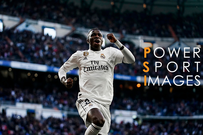 Vinicius Junior of Real Madrid celebrates scoring his goal during the La Liga 2018-19 match between Real Madrid and Real Valladolid at Estadio Santiago Bernabeu on November 03 2018 in Madrid, Spain. Photo by Diego Souto / Power Sport Images