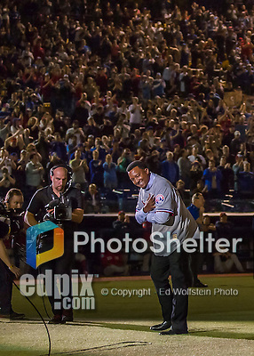 1 April 2016: Baseball Hall of Fame Member, former Boston Red Sox and Montreal Expos pitcher Pedro Martinez (Number 45) acknowledges the fans during pre-game ceremonies prior to an exhibition game between the Red Sox and the Toronto Blue Jays at Olympic Stadium in Montreal, Quebec, Canada. The Red Sox defeated the Blue Jays 4-2 in the first of two MLB weekend exhibition games, which saw an attendance of 52,682 at the former home on the Montreal Expos. Mandatory Credit: Ed Wolfstein Photo *** RAW (NEF) Image File Available ***