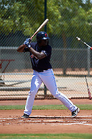 AZL Indians Blue Jhonkensy Noel (44) at bat during an Arizona League game against the AZL Indians Red on July 7, 2019 at the Cleveland Indians Spring Training Complex in Goodyear, Arizona. The AZL Indians Blue defeated the AZL Indians Red 5-4. (Zachary Lucy/Four Seam Images)