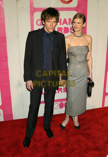 KEVIN BACON & KYRA SEDGWICK .The 14th Annual Gotham Awards, Pier 60, Chelsea Piers, New York City, New York, USA.01December 2004..full length husband wife married green chequered tartan belted strapless dress.Ref: IW.www.capitalpictures.com.sales@capitalpictures.com.©Capital Pictures.