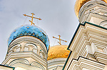 The colorful domes of a Russian Orthodox Church gleam in the midday sun in Vladivostok, Russia
