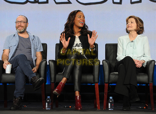 2015 FX WINTER TCA: (L-R) Cast members H. Jon Benjamin, Aisha Tyler and Jessica Walter during the ARCHER panel at the 2015 FX WINTER TCA on Sunday, Jan. 18 at the Langham Hotel in Pasadena CA.   <br /> CAP/MPI/PGFM<br /> &copy;PGFM/MPI/Capital Pictures