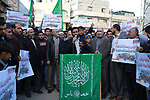 Hamas MP Moshir Al-Masri delivers a speech during a rally to celebrate the West Bank shooting attack, in Beit Lahia in the northern Gaza Strip March 17, 2019. One Israeli was killed and another two Israelis were critically injured after a Palestinian allegedly carried out a stabbing and shooting attack at the junction of the illegal Israeli settlement of Ariel . Photo by Mahmoud Nasser