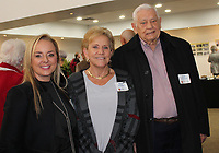 NWA Democrat-Gazette/CARIN SCHOPPMEYER Tareneh Manning (from left) and Mary and Jim Stockland visit at the Steele/Tyson exhibition opening.