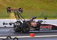 Jun 4, 2016; Epping , NH, USA; NHRA top fuel driver Steve Torrence deploys the parachutes on his dragster during qualifying for the New England Nationals at New England Dragway. Mandatory Credit: Mark J. Rebilas-USA TODAY Sports