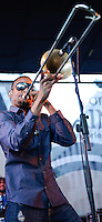 Trombone Shorty and Orleans Avenue play the Lafayette Square concert series in New Orleans, LA.