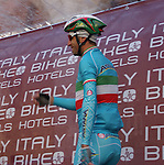 Italian National Champion Vincenzo Nibali (ITA) Astana team on the podium to sign on before the start of the Strade Bianche Eroica Pro 2015 cycle race 200km over the white gravel roads from San Gimignano to Siena, Tuscany, Italy. 8th March 2015<br /> Photo: Otto de Waele/www.newsfile.ie