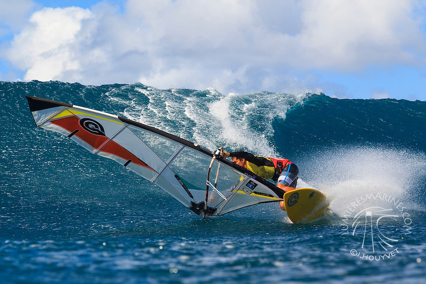 Laurent Guillemin at the 6th and final stop of the 2012 American Windsurfing Tour (AWT), in Ho'okipa Beach Park (Maui, Hawaii, USA)