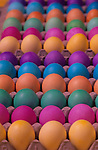 Colorful Easter eggs drying in egg cartons before being hidden on Easter morning, Marysville, Washington  USA
