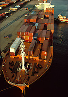 Container cargo ship, South Boston, Conley Terminal, Boston, MA aerial