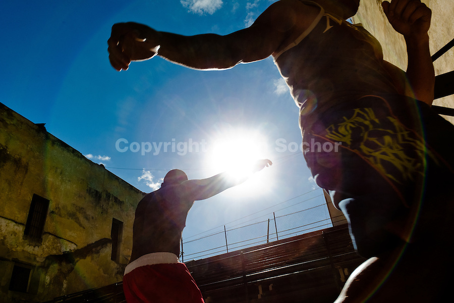 Cuban boxers train at Rafael Trejo boxing gym in the Old Havana, Cuba, 5 February 2010. During the last 30 years Cuba has produced more World Champions and Olympic gold medallists in amateur boxing than any other country. Many famous fighters, who came out of Cuba, were training at Rafael Trejo boxing gym in their youth. This run down open air facility in the Old Havana is a place of learning and mastering the art of boxing by the old school style. Boys begin their training very young. As sports are given a high political priority in Cuba, all children are systematically encouraged to develop their skills. Those who succeed will become heroes of Cuban society.