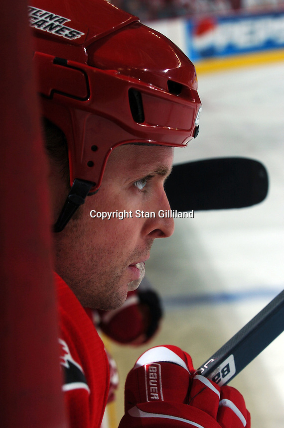 Carolina Hurricanes' defenseman Aaron Ward watches intently during their game with the Washington Capitals Wednesday, Oct. 12, 2005 in Raleigh, NC. Carolina won 7-2.