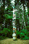 AK: Alaska Sitka National Historic Park, totem pole in rain forest  .Photo Copyright: Lee Foster, lee@fostertravel.com, www.fostertravel.com, (510) 549-2202.Image: aksitk201