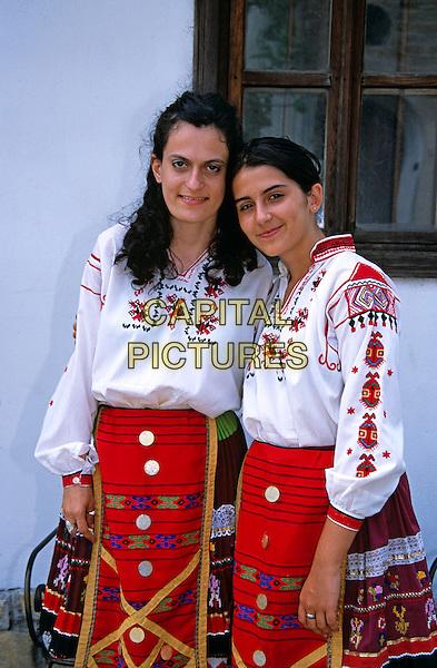 Two girls in national costume, Veliko Tarnovo, Bulgaria