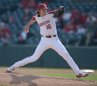 NWA Democrat-Gazette/ANDY SHUPE<br />Arkansas starter Blaine Knight delivers to the plate against Kent State Friday, March 9, 2018, during the first inning at Baum Stadium in Fayetteville. Visit nwadg.com/photos to see more photographs from the game.
