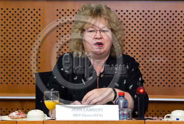 BRUSSELS - BELGIUM - 05 OCTOBER 2011 -- Solidar event at the EU- Parliament - MEPs for Domestic Workers Convention. -- MEP Jean LAMBERT (Green/EFA). --  PHOTO: Juha ROININEN /  EUP-IMAGES