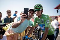 selfie with Nairo Quintana (COL/Movistar)<br /> <br /> Stage 8: Valls to Igualada (167km)<br /> La Vuelta 2019<br /> <br /> ©kramon