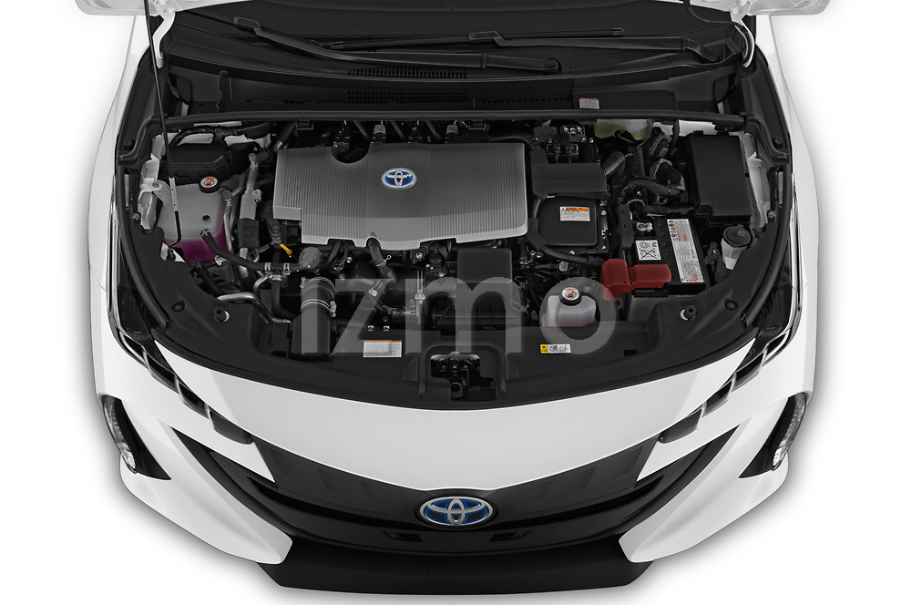 Car stock 2020 Toyota Prius-Prime XLE 5 Door Hatchback engine high angle detail view