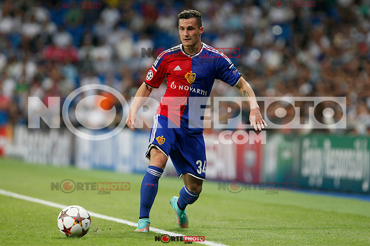 Taulant Xhaka of FC Basel 1893 during the Champions League group B soccer match between Real Madrid and FC Basel 1893 at Santiago Bernabeu Stadium in Madrid, Spain. September 16, 2014. (ALTERPHOTOS/Caro Marin) /NortePhoto.com