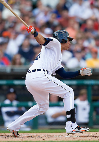 June 06, 2012:  Detroit Tigers center fielder Quintin Berry (52) at bat during MLB game action between the Cleveland Indians and the Detroit Tigers at Comerica Park in Detroit, Michigan.  The Indians defeated the Tigers 9-6.