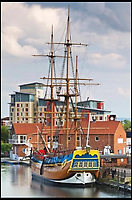 BNPs.co.uk (01202 558833)<br /> Pic: UniqueAuctions/BNPS<br /> <br /> A remarkable full size replica of the HMS Endeavour has emerged for auction and is tipped to sell for &pound;120,000.<br /> <br /> The HM Bark Endeavour is the spitting image of the legendary vessel upon which Captain James Cook discovered the east coast of Australia in 1770 during an epic three year voyage.<br /> <br /> It is one of only two full size replicas of the famous ship in the world - the other is at the National Maritime Museum in Sydney Harbour.<br /> <br /> The HM Bark Endeavour was built 15 years ago at a cost of &pound;2.5million and has been moored at Stockton-on-Tees on the North East coast of England where the great explorer spent his childhood.