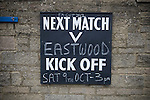 Matlock Town 0 Eastwood Town 3, 09/10/2010. Causeway Lane, FA Cup 3rd qualifying round. A chalkboard sign outside the ground advertising the FA Cup 3rd qualifying round tie between Matlock Town and Eastwood Town at Causeway Lane, Matlock. The visitors from Nottingham who play one division higher than Matlock won by three goals to nil to move to within one round of the FA Cup 1st round proper. The match was watched by 655 spectators. Photo by Colin McPherson.