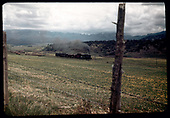 A somewhat distant view of RGS #74 with southbound RMRRC excursion to Telluride between Jays and Hagens.  Ridgway can be seen in the left distance.  Shot was taken through the fence along the highway.<br /> RGS  Jays-Hagens, CO  Taken by Maxwell, John W. - 5/29/1949