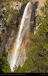 Bridalveil Falls with Sunset Rainbow, Yosemite National Park